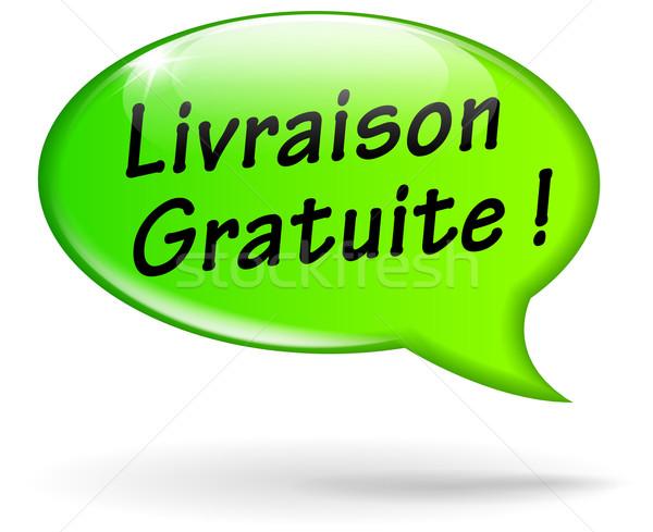 Vector gratis verzending icon frans vertaling groene Stockfoto © nickylarson974