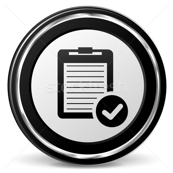 Sprawozdanie czarny ikona ilustracja chrom papieru Zdjęcia stock © nickylarson974