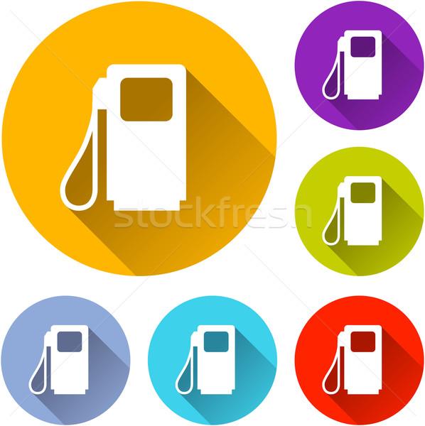 Benzinpumpa ikonok hat színes terv narancs Stock fotó © nickylarson974