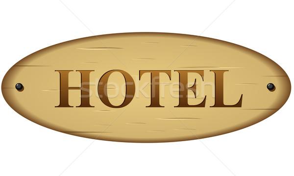 ベクトル ホテル にログイン 彫刻 木材 ドア ストックフォト © nickylarson974