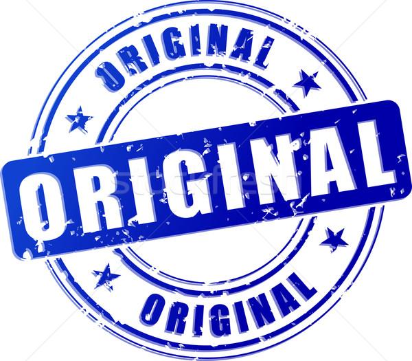 Original azul carimbo ilustração branco projeto Foto stock © nickylarson974