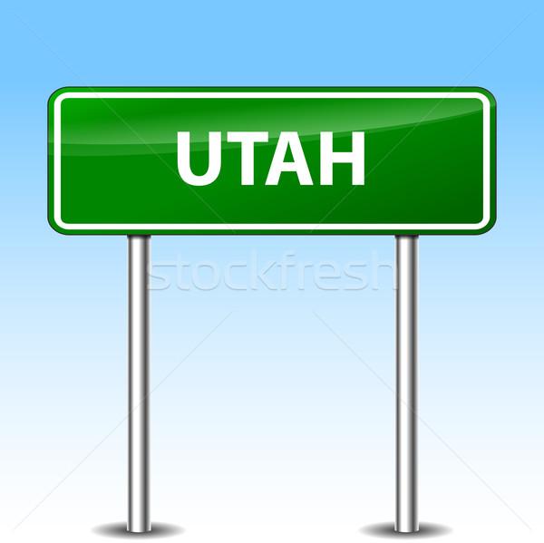Юта зеленый знак иллюстрация металл дорожный знак Сток-фото © nickylarson974