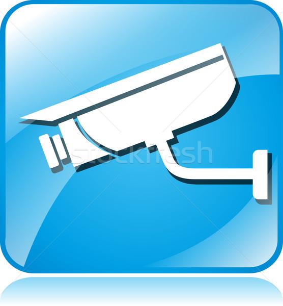 камеры наблюдение синий квадратный икона иллюстрация Сток-фото © nickylarson974