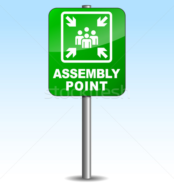 Vector vertical assembly point sign Stock photo © nickylarson974