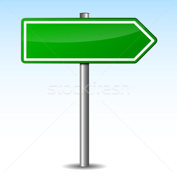 Vektör yeşil ok işareti beyaz Metal imzalamak Stok fotoğraf © nickylarson974