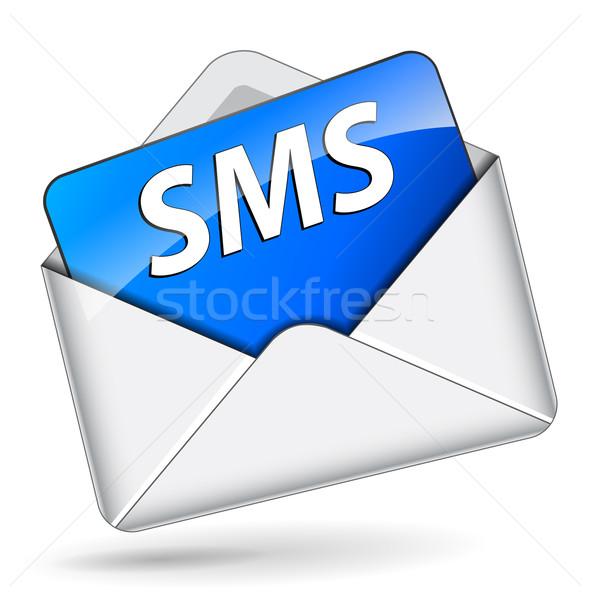 Vektor sms ikon boríték fehér papír Stock fotó © nickylarson974