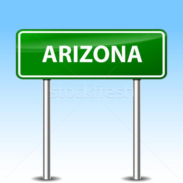 Arizona felirat illusztráció zöld fém jelzőtábla Stock fotó © nickylarson974
