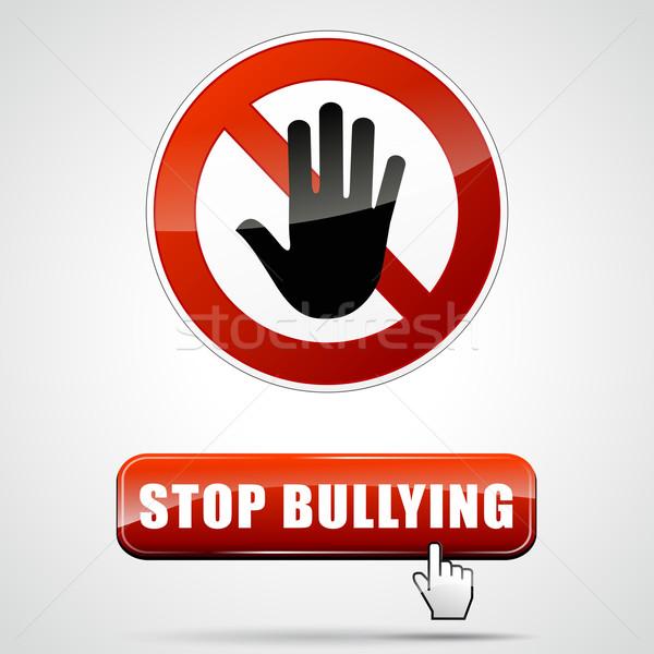 Stop megfélemlítés illusztráció felirat webes gomb piros Stock fotó © nickylarson974