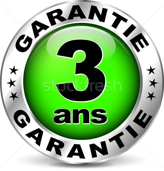 Stock photo: green warranty icon ( french translation )