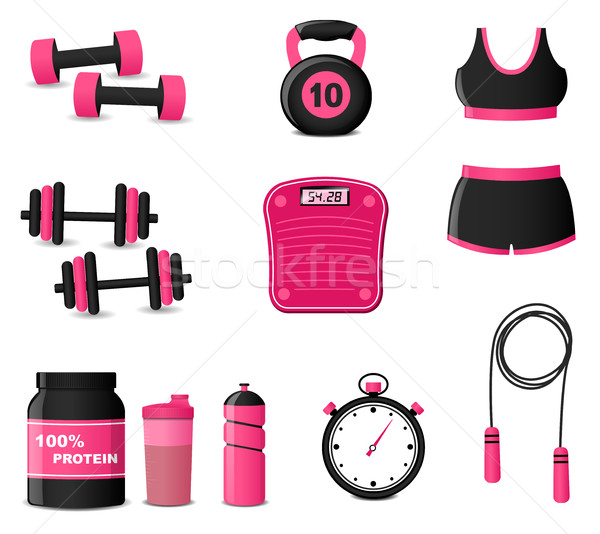 Fitness icônes blanche illustration eau sport Photo stock © nickylarson974