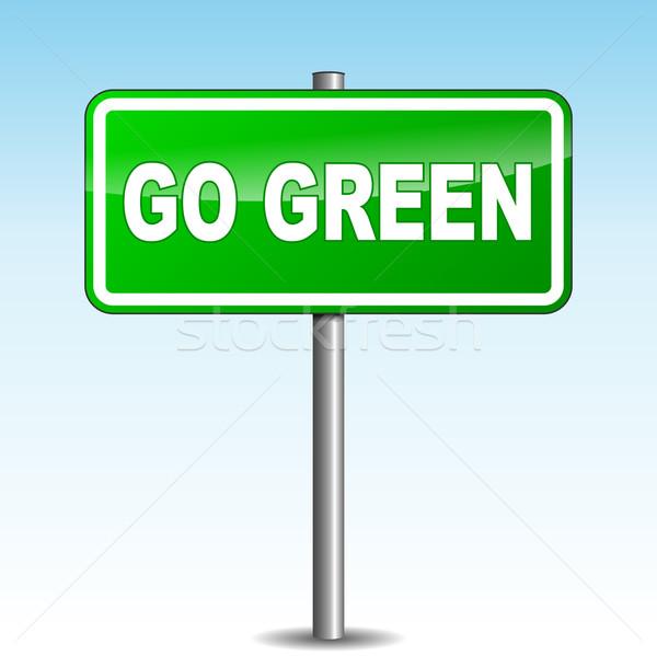 Foto stock: Vetor · verde · poste · de · sinalização · céu · natureza · fundo