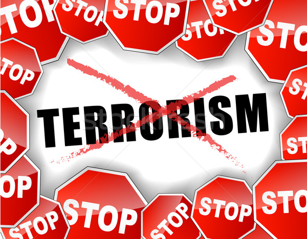 Stoppen terrorisme veiligheid oorlog Rood witte Stockfoto © nickylarson974