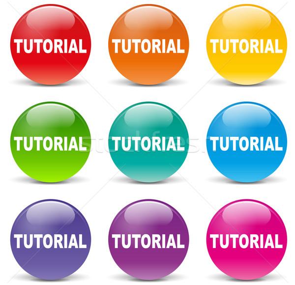 Vettore tutorial icone set bianco sfondo Foto d'archivio © nickylarson974