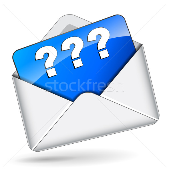 Wektora znak zapytania kopercie ikona biały tle Zdjęcia stock © nickylarson974