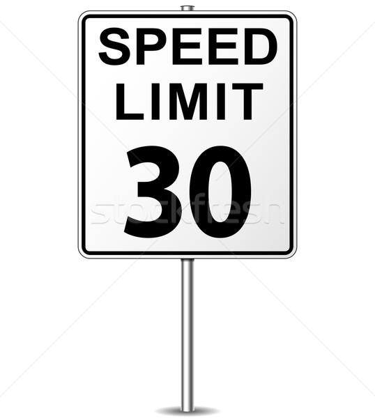 Vektor Geschwindigkeitsbegrenzung Zeichen dreißig Wegweiser Straße Stock foto © nickylarson974