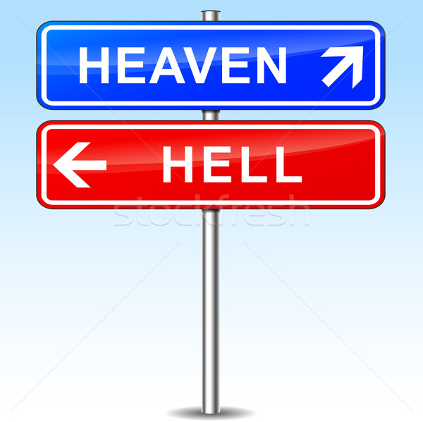 heaven and hell directional signs Stock photo © nickylarson974