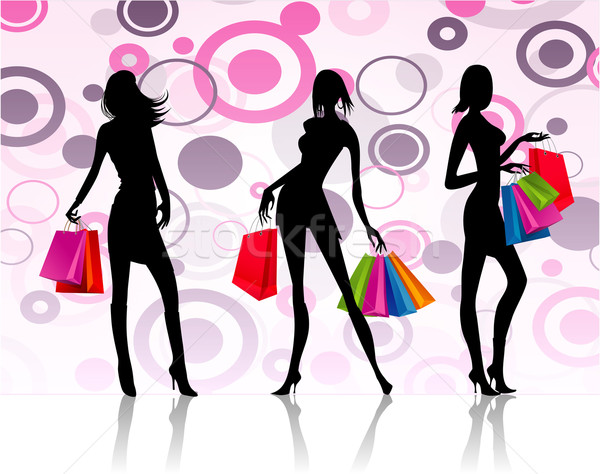 Shopping filles illustration trois fille femmes Photo stock © nickylarson974