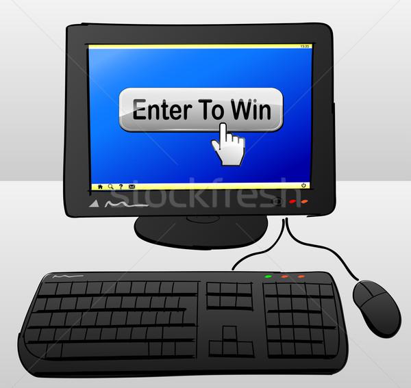 Győzelem számítógép rajz gomb képernyő internet Stock fotó © nickylarson974