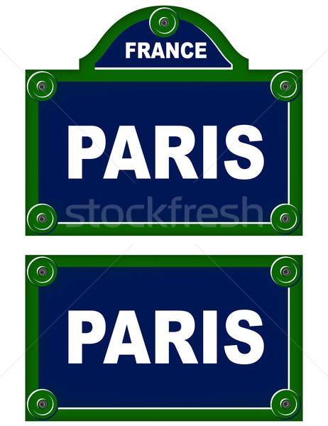 Párizsi tányérok utca háttér felirat zöld Stock fotó © nickylarson974