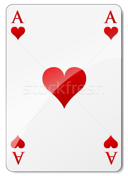 вектора туз сердцах белый бумаги любви Сток-фото © nickylarson974
