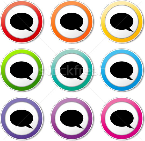 Stock fotó: Szövegbuborék · ikonok · illusztráció · különböző · szín · szett