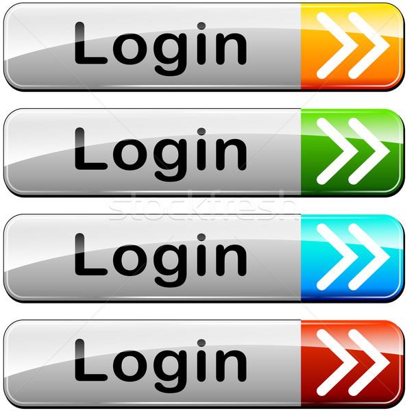 Vier inloggen web knoppen illustratie witte Stockfoto © nickylarson974