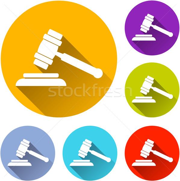 Hat kalapács ikonok illusztráció fehér terv Stock fotó © nickylarson974
