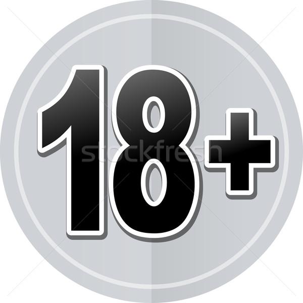 Osiemnastu naklejki ikona ilustracja proste projektu Zdjęcia stock © nickylarson974