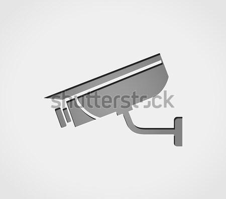 Filmadora ícone metal anel ilustração segurança Foto stock © nickylarson974