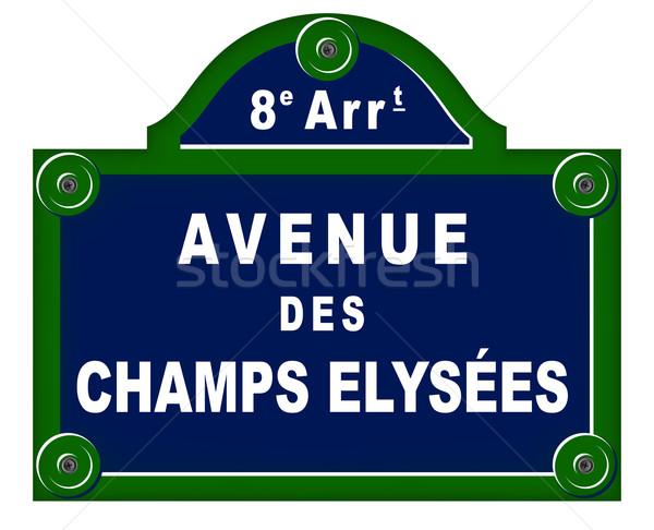 Párizsi tányérok utca felirat zöld utazás Stock fotó © nickylarson974