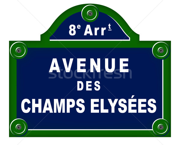 парижский пластин улице знак зеленый путешествия Сток-фото © nickylarson974