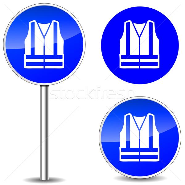 Vektor mentőmellény felirat kék ikonok fém Stock fotó © nickylarson974