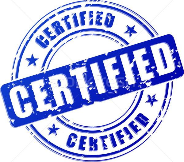 Certificado azul carimbo ilustração branco postar Foto stock © nickylarson974