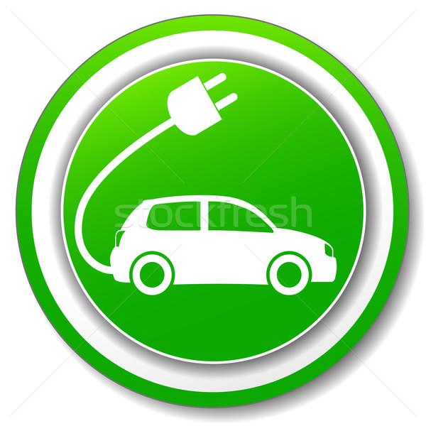 Elektrische auto groene icon illustratie cirkel auto Stockfoto © nickylarson974