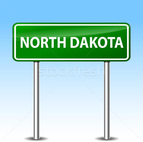 Stok fotoğraf: Kuzey · Dakota · yeşil · imzalamak · örnek · Metal · yol · işareti