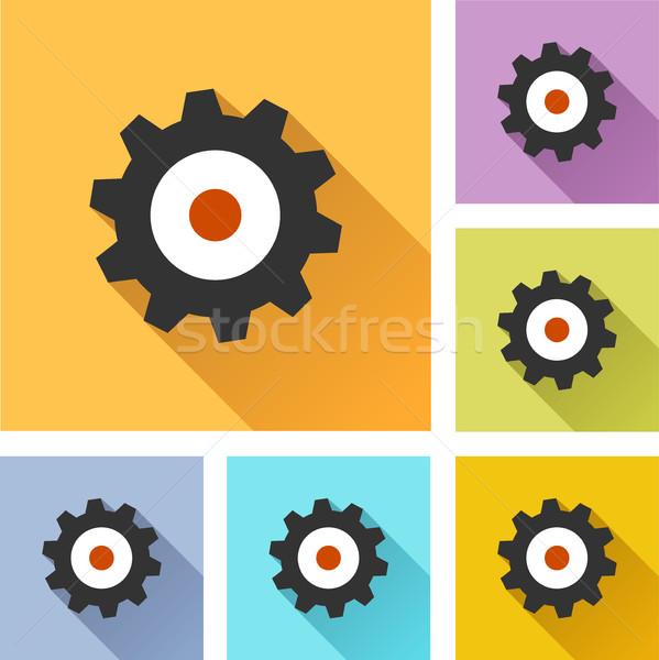 Mechanika koła zestaw ikona ilustracja kolorowy Zdjęcia stock © nickylarson974