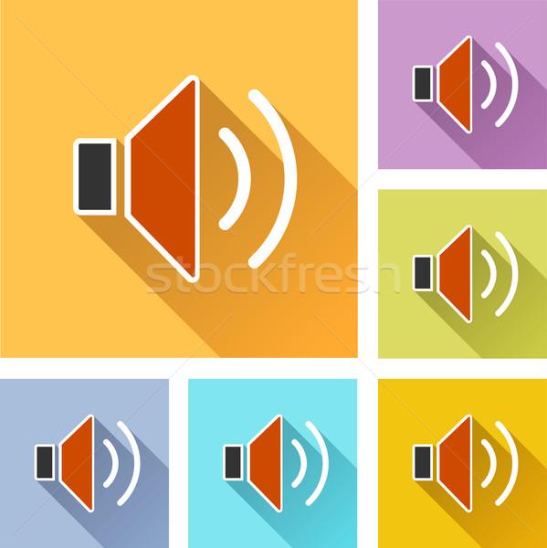 Orador establecer iconos ilustración colorido diseno Foto stock © nickylarson974