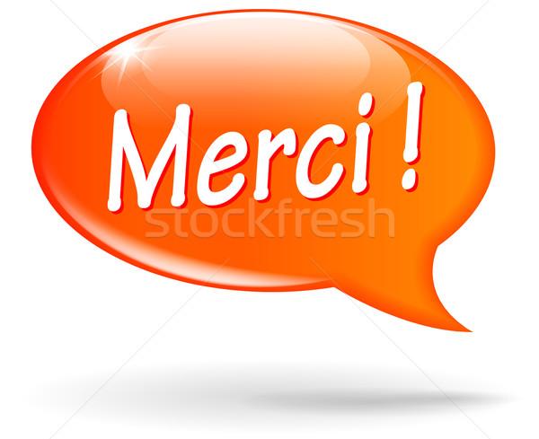 Köszönet szövegbuborék francia fordítás narancs háttér Stock fotó © nickylarson974