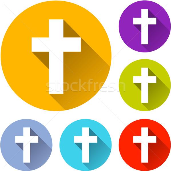 Religiosa cross icone illustrazione sei ombra Foto d'archivio © nickylarson974