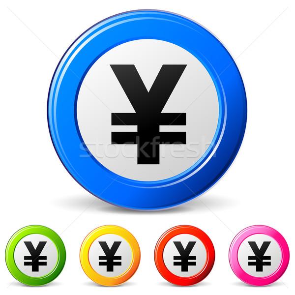 Yen iconos blanco diseno fondo mercado Foto stock © nickylarson974