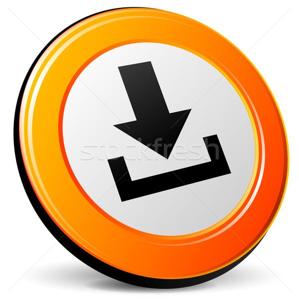 Vecteur icône de téléchargement orange 3D internet signe Photo stock © nickylarson974