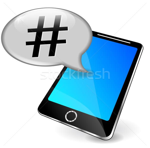 Vector phone with hashtag Stock photo © nickylarson974