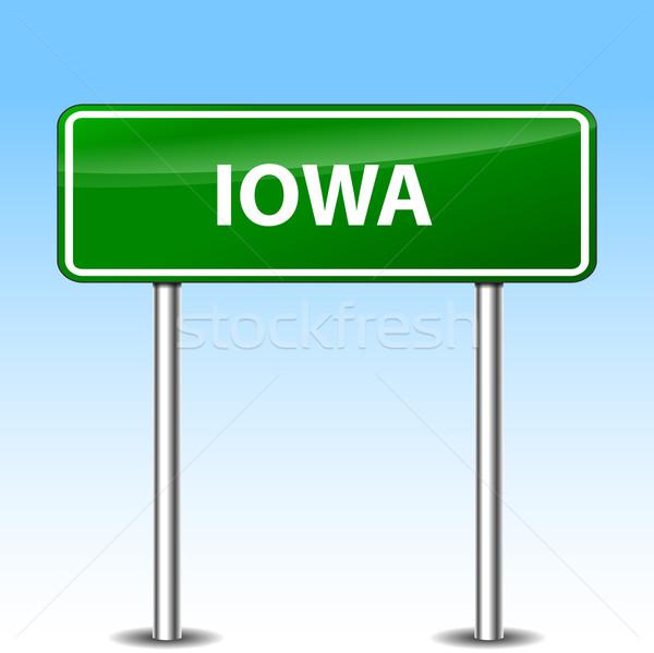 Айова зеленый знак иллюстрация металл дорожный знак Сток-фото © nickylarson974