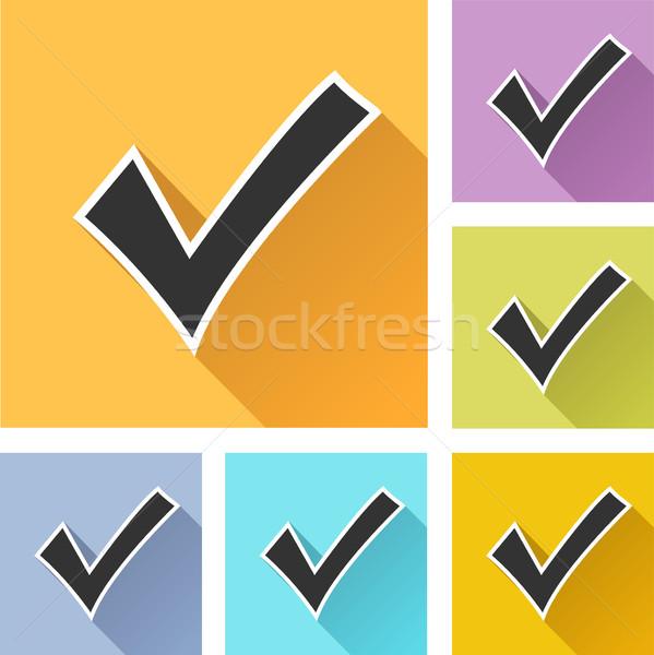 Stockfoto: Controleren · ingesteld · iconen · illustratie · kleurrijk