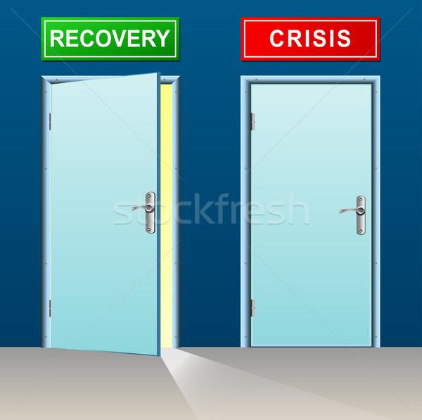 Genezing crisis deuren illustratie business abstract Stockfoto © nickylarson974