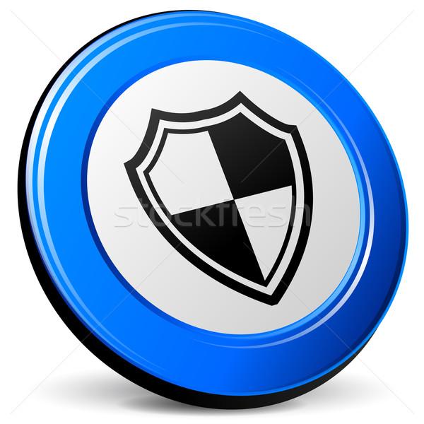 Kalkan ikon örnek 3D mavi dizayn Stok fotoğraf © nickylarson974