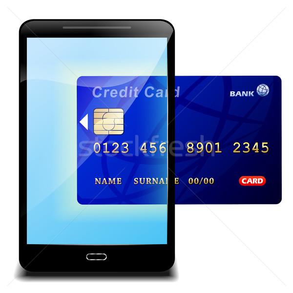 Kreditkarte Bezahlung Illustration Handy Internet Design Stock foto © nickylarson974