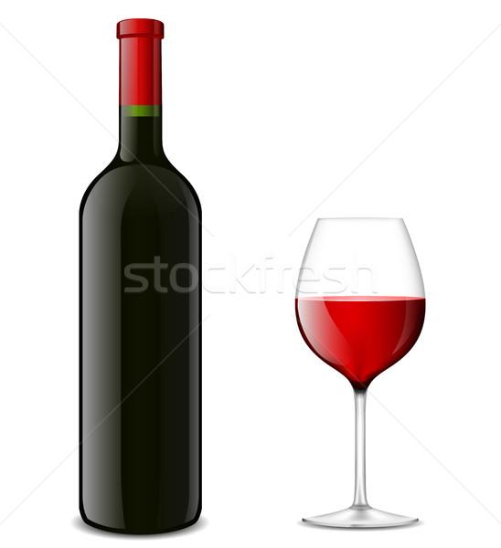 Foto stock: Garrafa · de · vinho · vidro · ilustração · vetor · fundo · jantar
