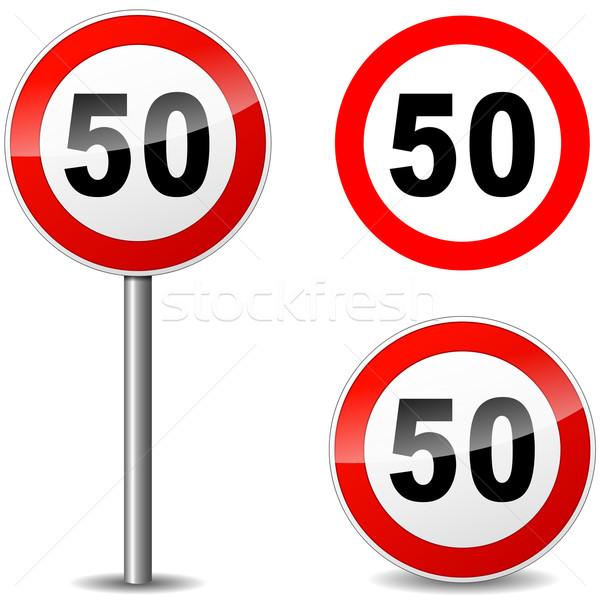 вектора пятьдесят знак регулирование белый дороги Сток-фото © nickylarson974