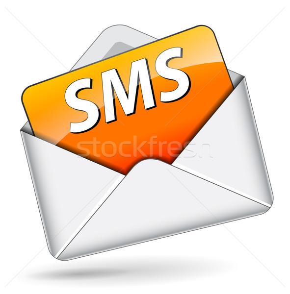 Vettore sms icona arancione messaggio bianco Foto d'archivio © nickylarson974